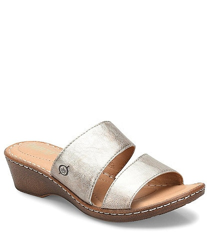 Born Lamium Leather Wedge Slides