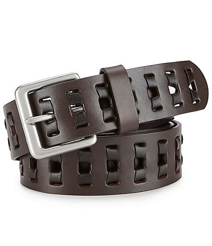 Born Men's Two Tone Retro Leather Lace Belt