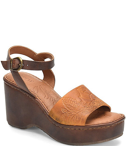 Born Moapa Embossed Leather Wedge Sandals