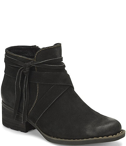 Born Montilla Nubuck Leather Wraparound Tassel Block Heel Booties