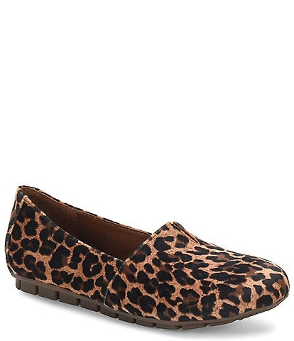 Born Sebra Leopard Print Fabric Slip On Moccasins