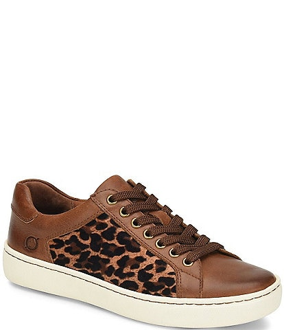 Born Sur Leather Leopard Print Fabric Sneakers