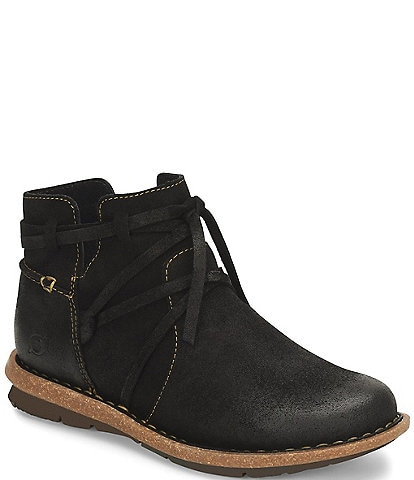 Born Tarkiln Distressed Wraparound Lace Detail Leather Booties
