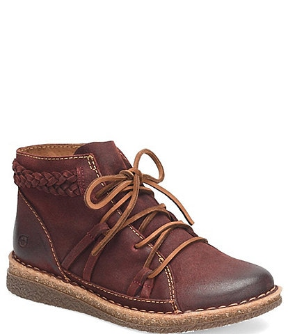 Born Temple II Distressed Leather Lace-Up Booties