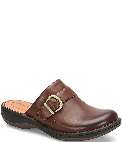 Born Trammell Leather Buckle Wedge Clogs