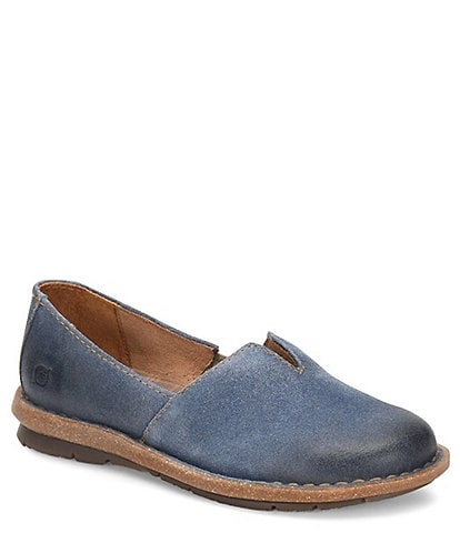 Born Tropi Distressed Suede Slip Ons