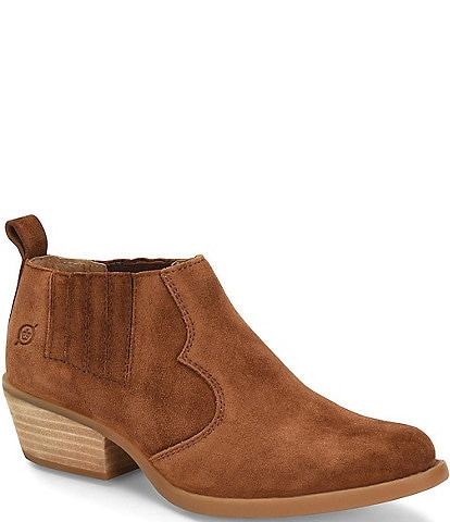 Born Wasatch Suede Block Heel Western Ankle Shooties