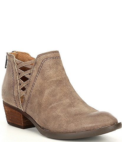 Born Waterville Distressed Suede Leather Western Ankle Booties