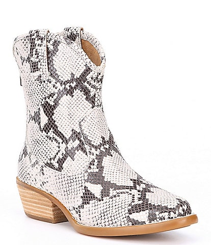 Born Wynd Leather Snake Print Western Stacked Block Heel Booties