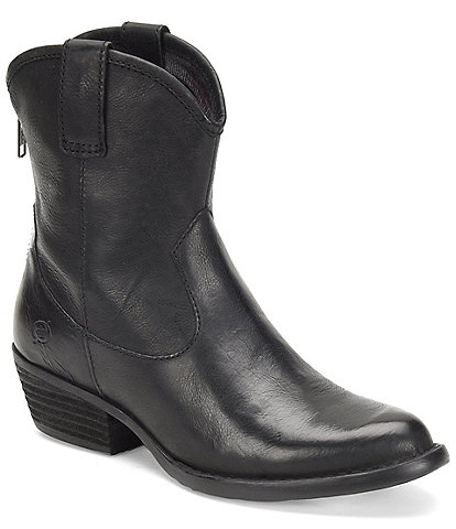 Born Wynd Leather Western Block Heel Booties