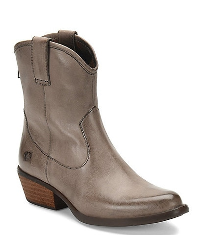 Born Wynd Leather Western Stacked Block Heel Booties