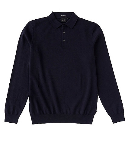 BOSS Baram Solid Collared Pullover Wool Sweater