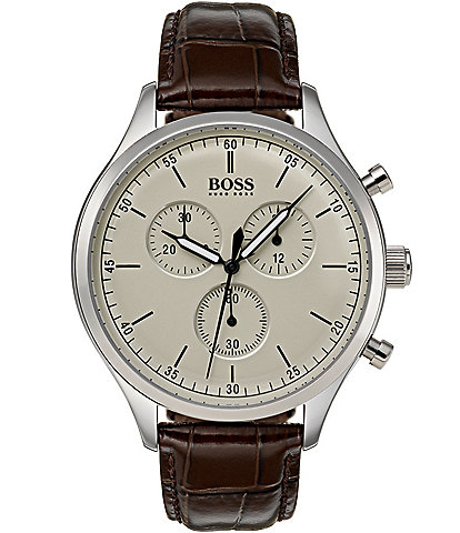 BOSS Hugo Boss Companion Chronograph Leather-Strap Watch