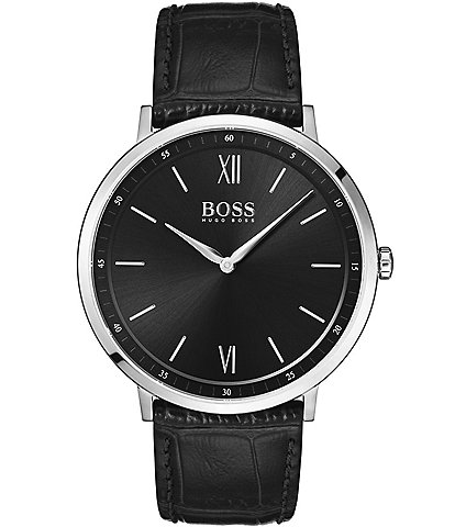 BOSS Hugo Boss Essential Ultra Slim Black Leather Strap Watch