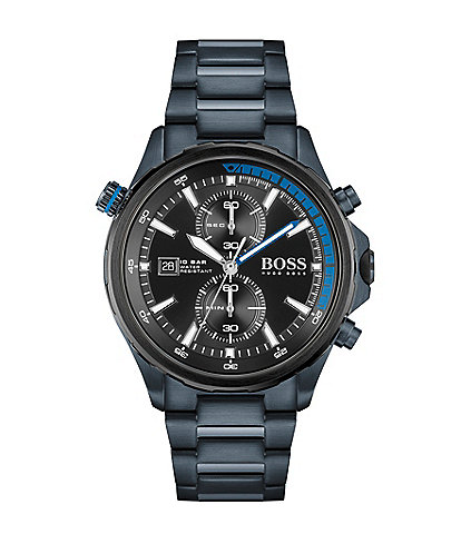 BOSS Hugo Boss Globetrotter Blue Stainless Steel Bracelet Watch