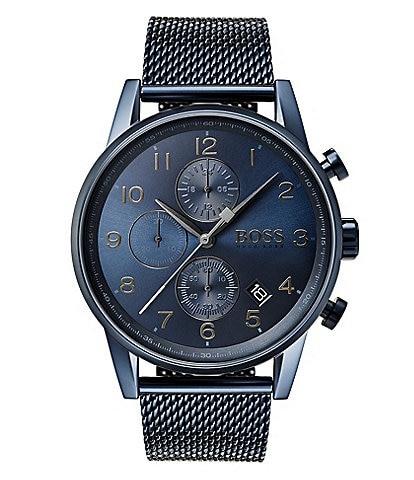 BOSS Hugo Boss Navigator Blue Mesh Chronograph Bracelet Watch