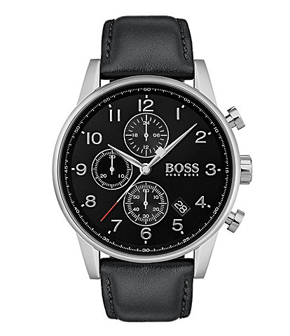 BOSS Hugo Boss Navigator Chronograph Leather Strap Watch