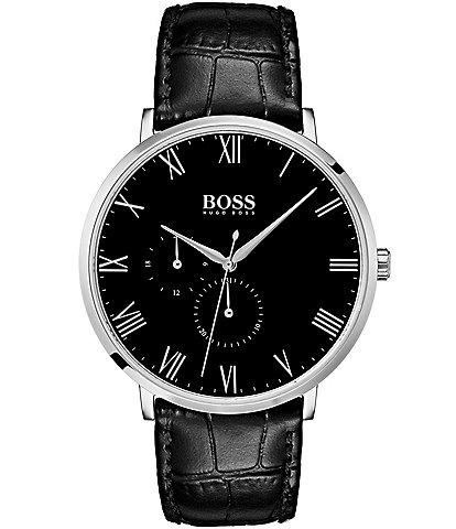 BOSS Hugo Boss William Black Croco Leather Multifunction Watch