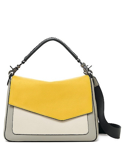 Botkier Cobble Hill Soft Pebble Leather Colorblock Gunmetal Snap Flap Mini Hobo Bag