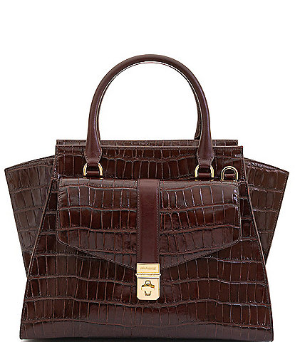 BRAHMIN Brava Collection Priscilla Crocodile-Embossed Satchel Bag
