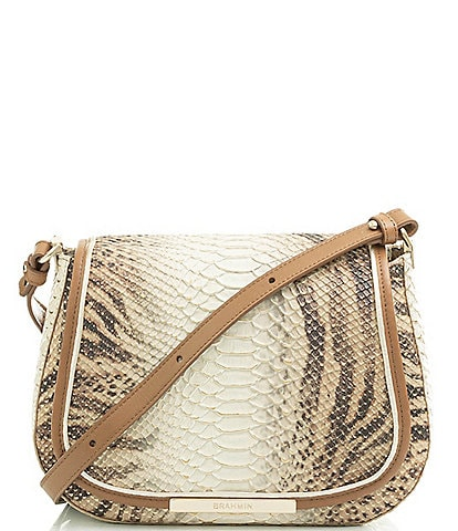 BRAHMIN Delancy Collection Small Nadine Zebra Print Snake- Embossed Crossbody Bag