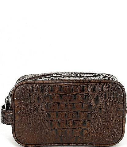 BRAHMIN Dylan Crocodile-Embossed Travel Kit