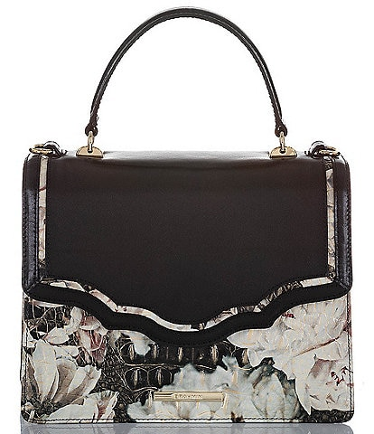 BRAHMIN Garland Collection Floral Top Handle Mini Francine Flap Leather Satchel Bag