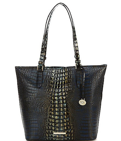 BRAHMIN Gravity Collection Asher Petrol Crocodile-Embossed Leather Tote Bag
