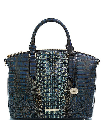 BRAHMIN Gravity Collection Duxbury Leather Crocodile-Embossed Satchel Bag