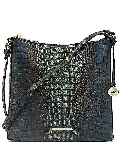 BRAHMIN Gravity Collection Katie Crocodile-Embossed Crossbody Bag