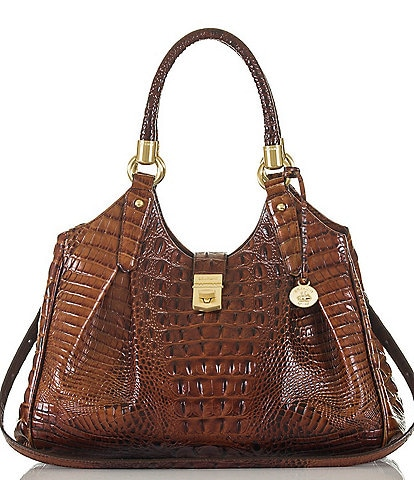 BRAHMIN Melbourne Collection Elisa Crocodile-Embossed Hobo Bag