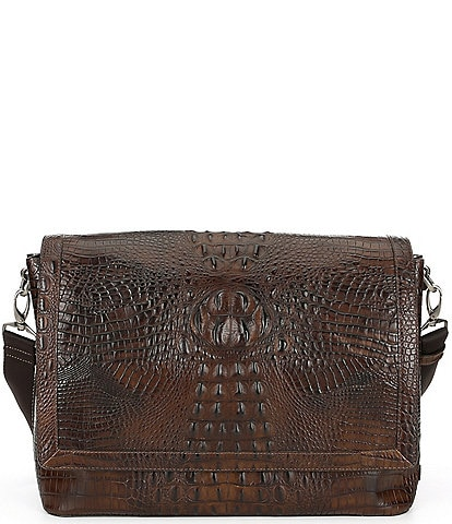 BRAHMIN Mason Crocodile-Embossed Messenger Bag
