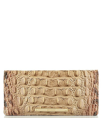 BRAHMIN Melbourne Collection Ady Crocodile-Embossed Animal Print Wallet