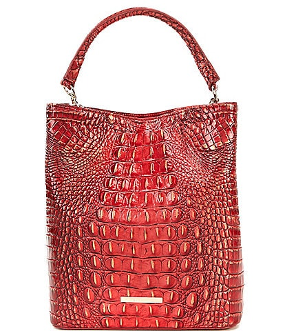 BRAHMIN Melbourne Collection Crocodile-Embossed Amelia Bucket Bag