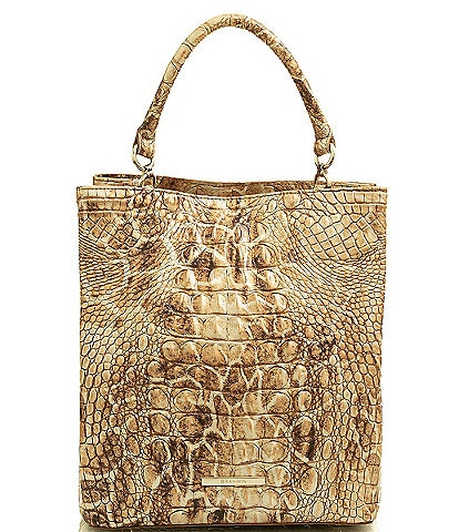 BRAHMIN Melbourne Collection Amelia Crocodile-Embossed Bucket Bag