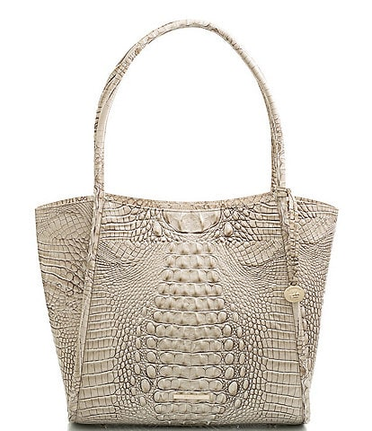 BRAHMIN Melbourne Collection Bailee Oversized Crocodile-Embossed Leather Tote Bag