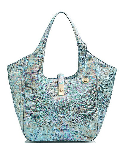 BRAHMIN Melbourne Collection Carla Crocodile-Embossed Leather Tote Bag