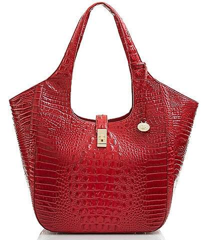 BRAHMIN Melbourne Collection Carla Crocodile-Embossed Tote Bag