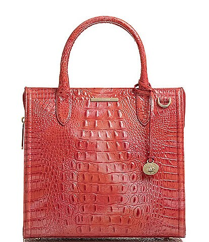 BRAHMIN Melbourne Collection Caroline Crocodile-Embossed Satchel Bag