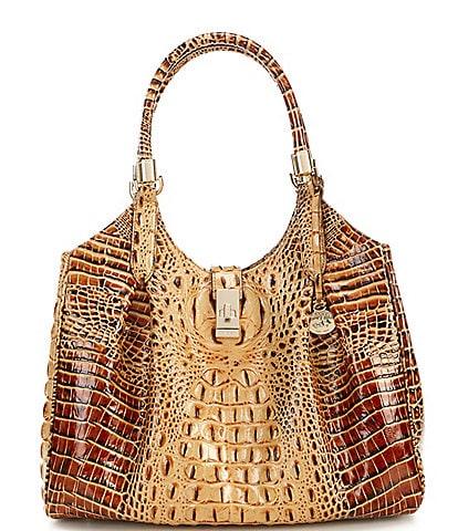 BRAHMIN Melbourne Collection Celia Crocodile-Embossed Leather Shoulder Bag