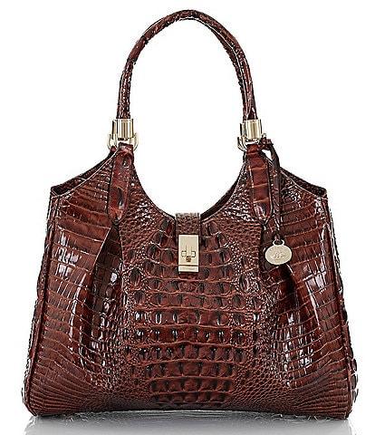BRAHMIN Melbourne Collection Celia Crocodile-Embossed Satchel Bag