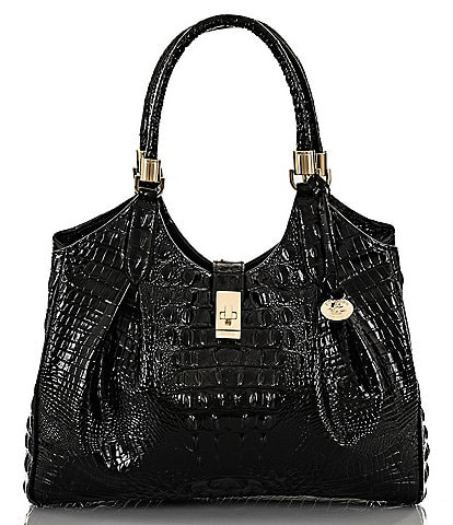 BRAHMIN Melbourne Collection Celia Crocodile-Embossed Satchel Bag