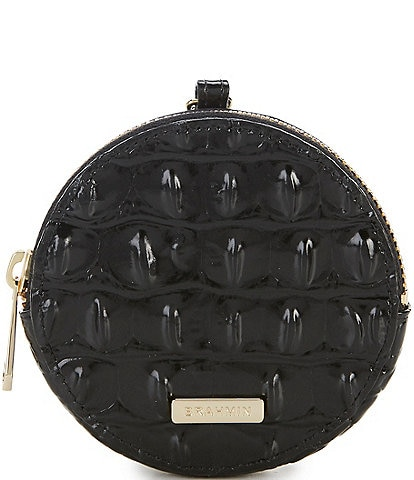 BRAHMIN Melbourne Collection Crocodile-Embossed Circle Coin Purse