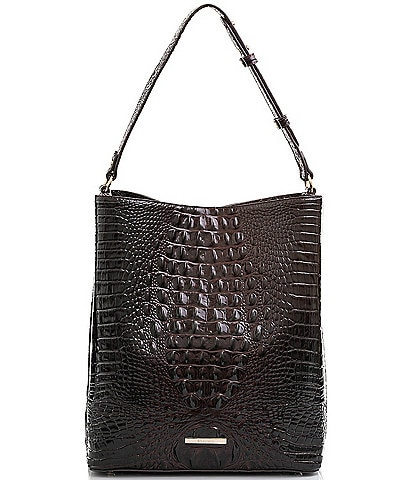 BRAHMIN Melbourne Collection Crocodile-Embossed Large Amelia Bucket Bag