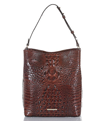 BRAHMIN Melbourne Collection Croco-Embossed Large Amelia Bucket Bag