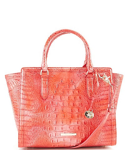 BRAHMIN Melbourne Collection Crocodile Embossed Aubree Satchel Bag