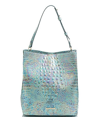 BRAHMIN Melbourne Collection Crocodile-Embossed Leather Large Amelia Bucket Bag