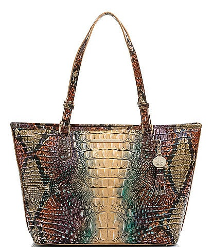 BRAHMIN Melbourne Collection Crocodile-Embossed Medium Asher Tasseled Tote Bag