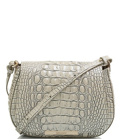 BRAHMIN Melbourne Collection Crocodile Embossed Small Nadine Saddle Bag