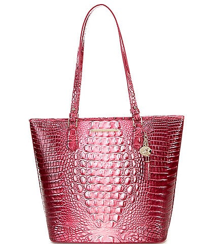 BRAHMIN Melbourne Collection Crocodile-Embossed Tasseled Asher Tote Bag